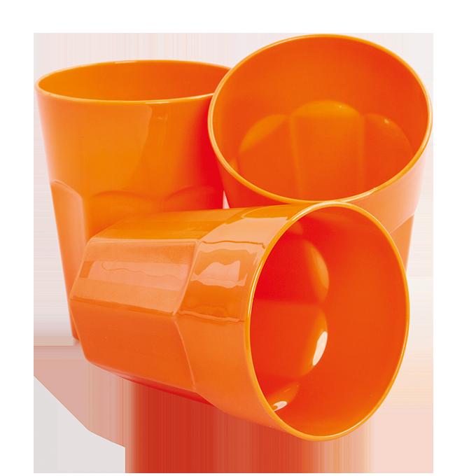3 ks KELÍMEK 350 ml z odolného plastu oranžový