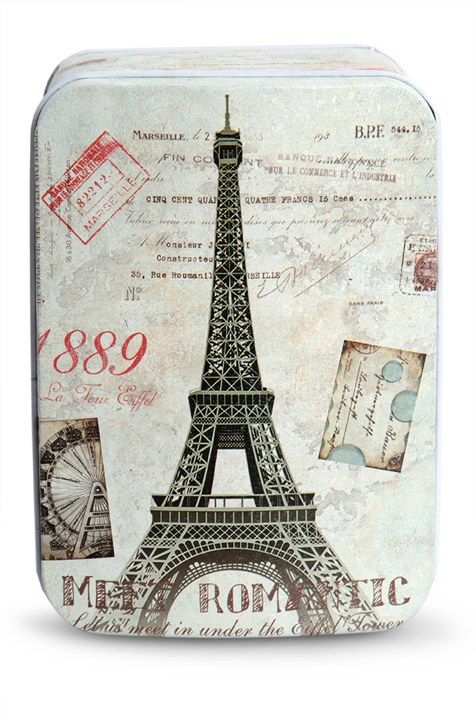 Kovová dóza, s motivy Paříže