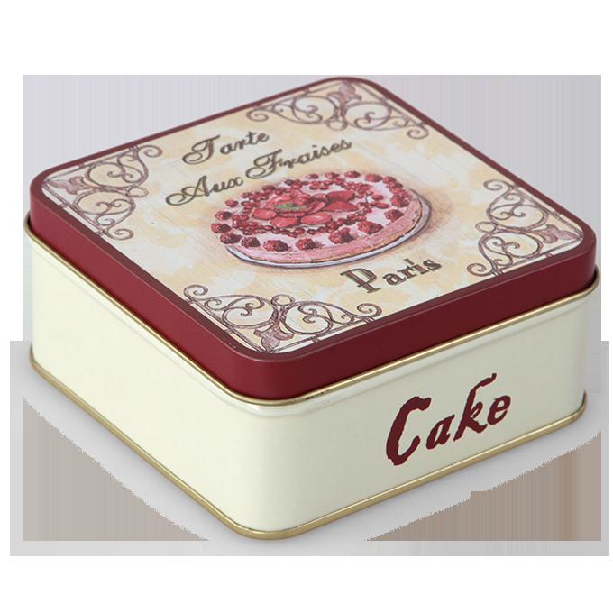 Kovová dóza čtvercová s víkem CAKE