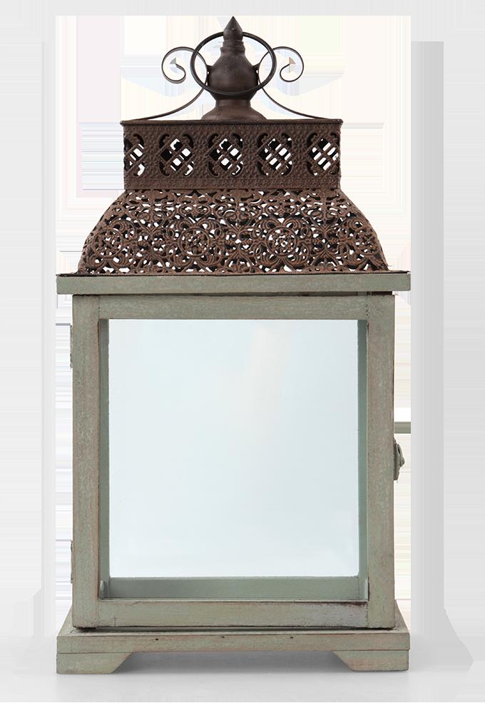 DA84822-Lucerna drevo a kov sa skleněn.výplněmi výška 47 cm