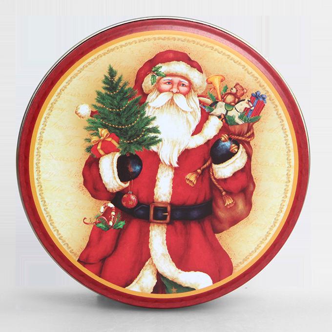 Kovová dóza, kulatá vánoční motiv