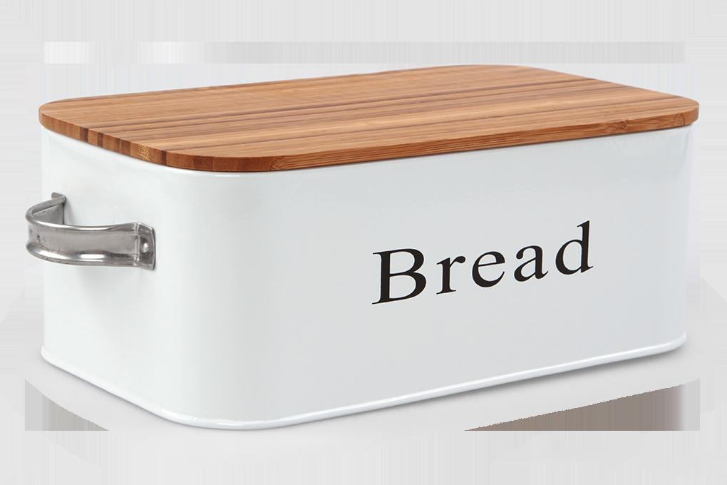 Kovový chlebník, s víkem z bambusu