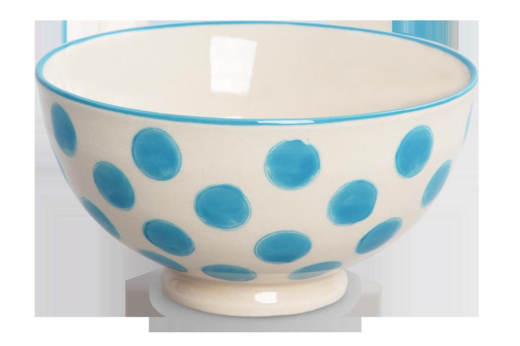 Keramická miska 250 ml STRIPES & DOTS modré puntíky