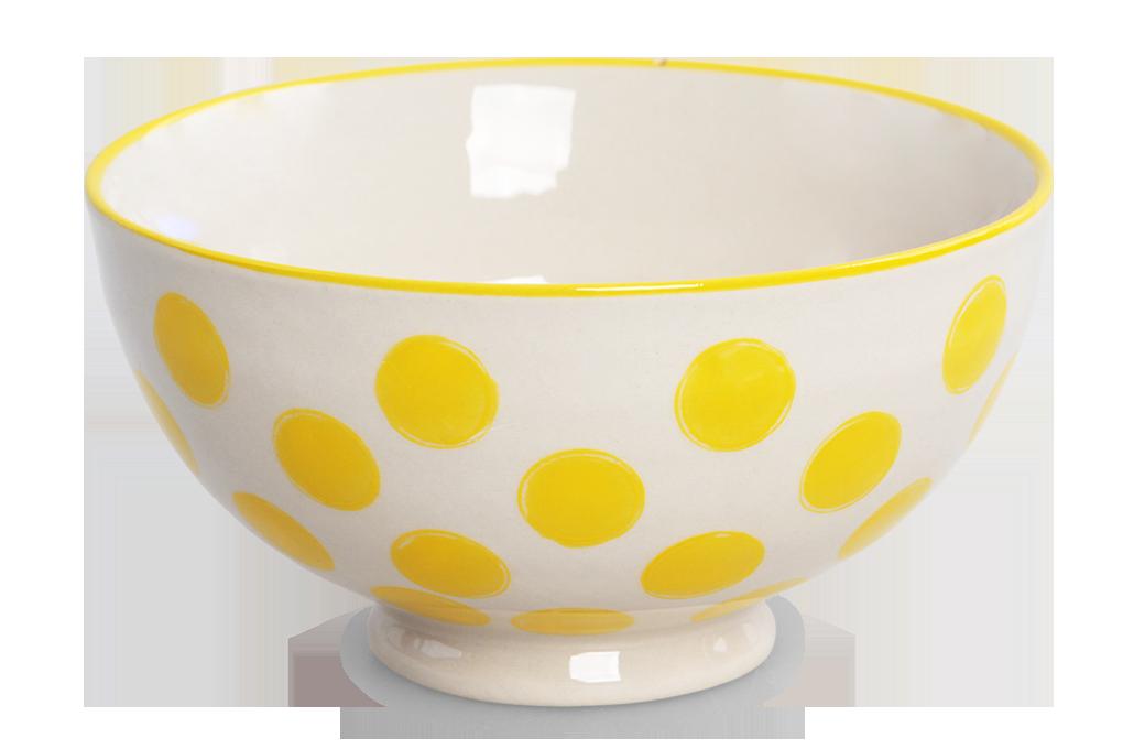 Keramická miska 250 ml STRIPES & DOTS žluté puntíky