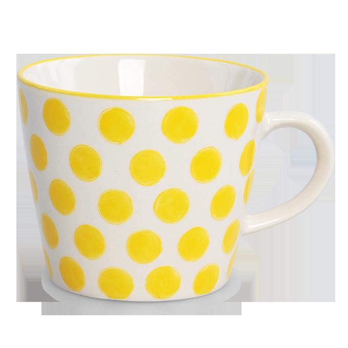 Keramický hrnek 350 ml STRIPES & DOTS žluté puntíky