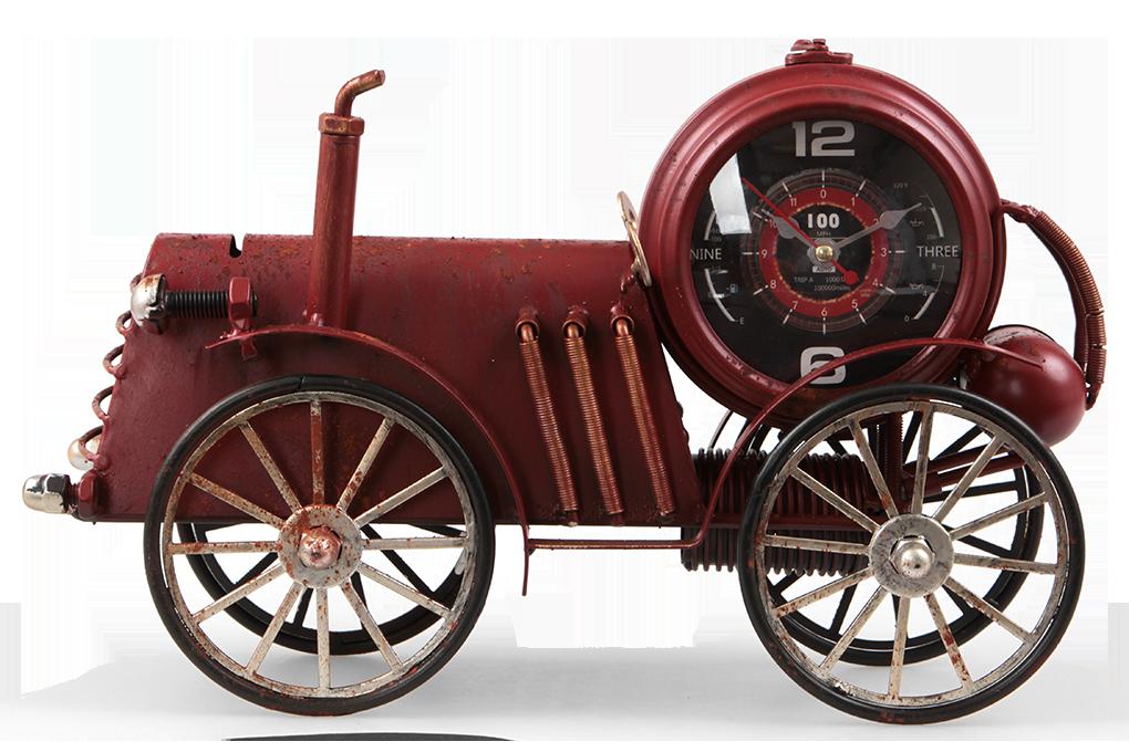 Velké kovové hodiny, v designu retro auta