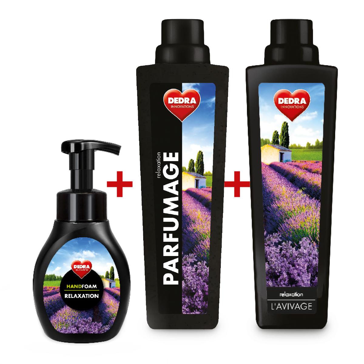 SADA RELAXATION 2+1 ZDARMA, pěnové mýdlo na ruce, parfémový super-koncetrát + avivážní kondicionér