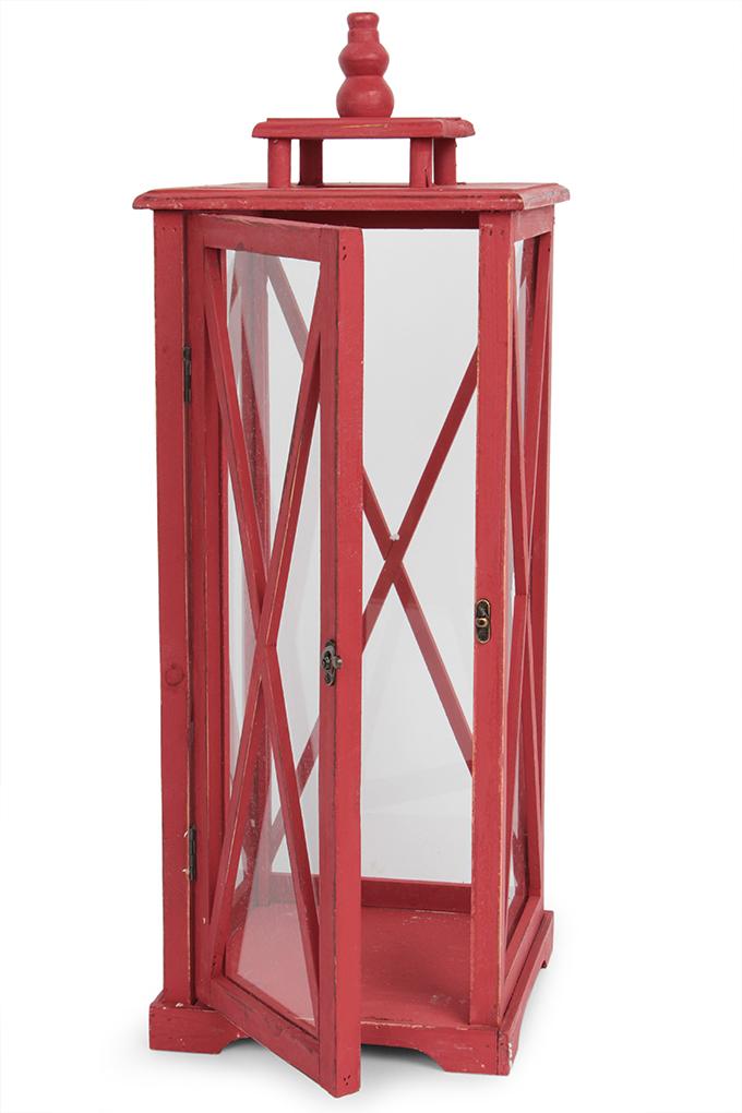 Dřevěná lucerna červená, výška 49 cm