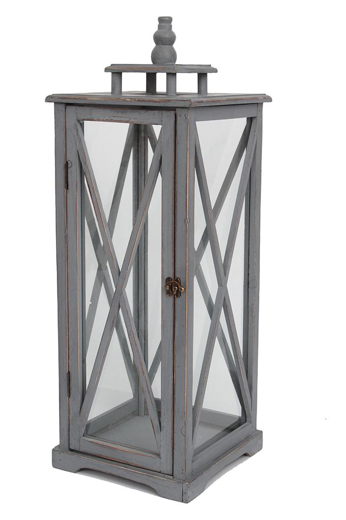 Dřevěná lucerna, šedá, výška 45 cm