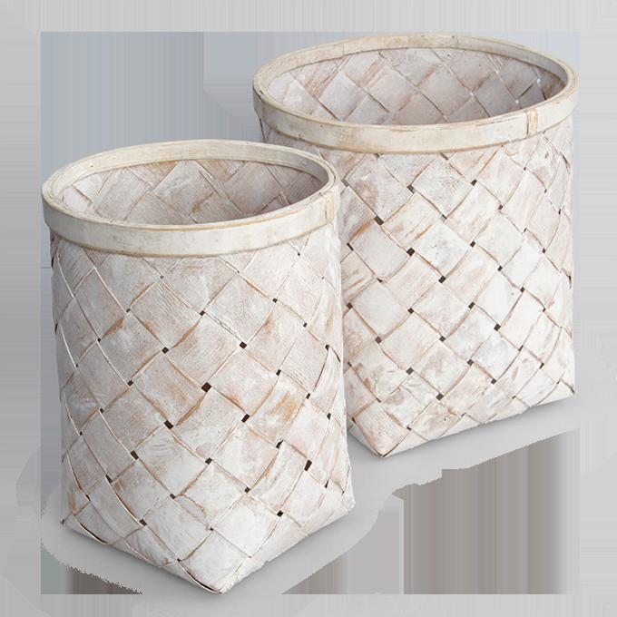 Splétaný koš z bambusové dýhy bílá patina