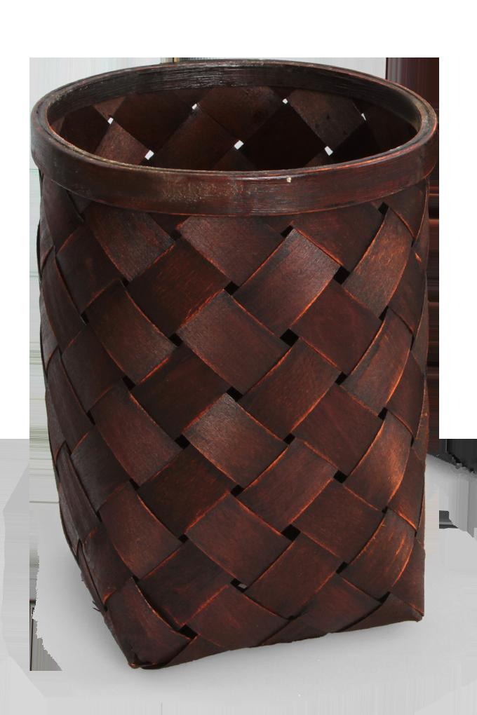 Splétaný koš z bambusové dýhy mahagonový