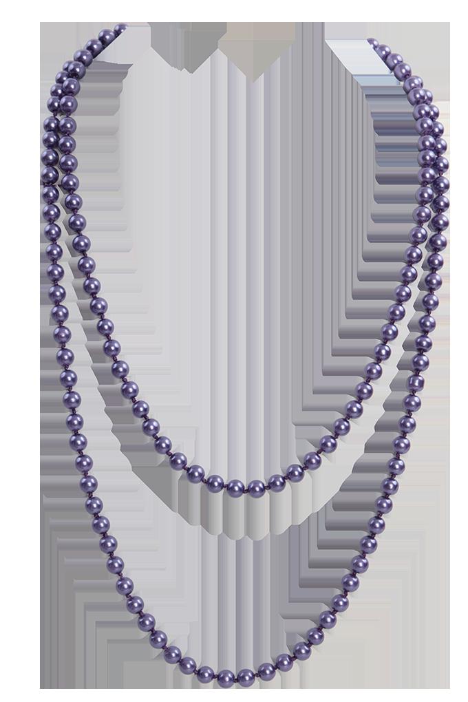 Korále náhrdelník fialové perleť délka cca 140 cm