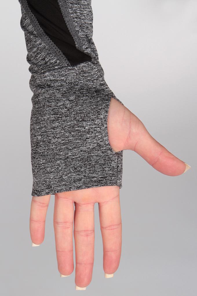 FC95151-MIKINA dámska na zips šedá melange + čierna