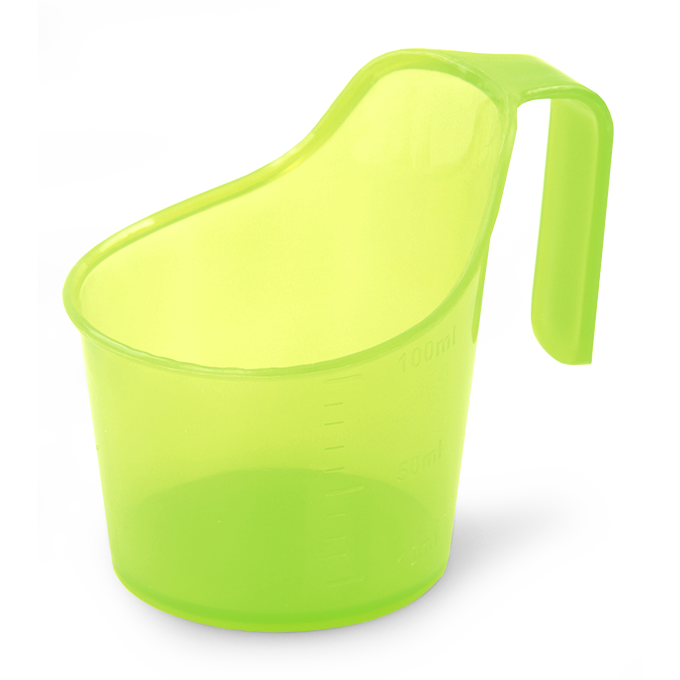 AA0239-Odmerka 100 ml s uškom na zavesenie plast