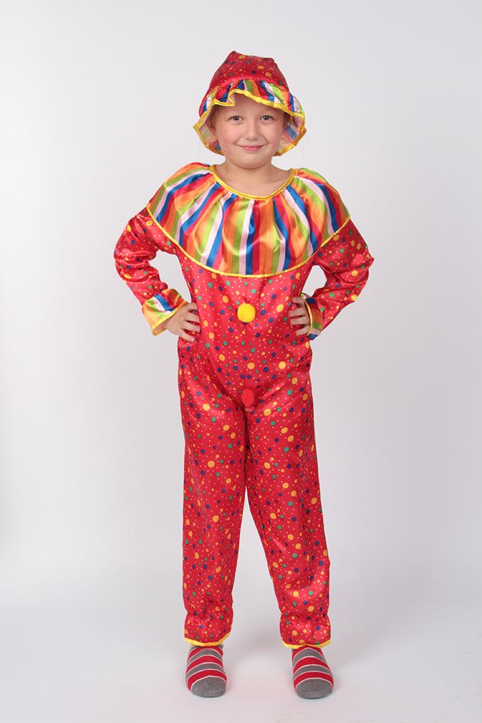 Kostým BAREVNÝ KLAUN dětský červený s puntíky vel.2(M)