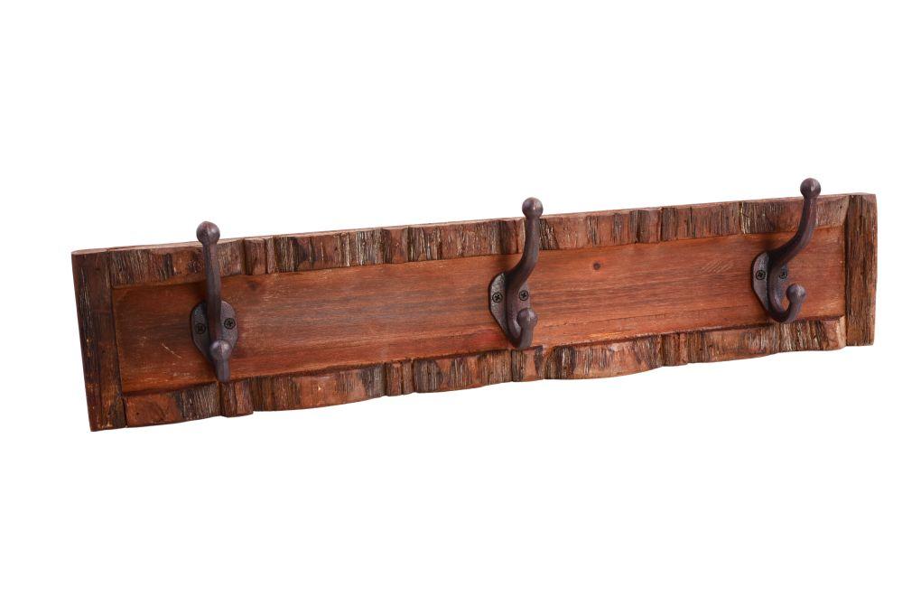 Dřevěný věšák, se 3 kovovými háčky