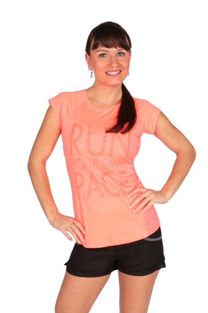 Funkční tričko s reflexním nápisem dámské jasně oranžové vel.2(M)
