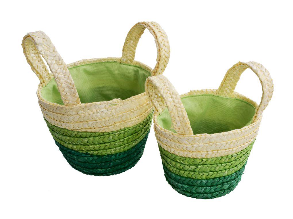 2ks košík/ošatka s všitou látkou zelený