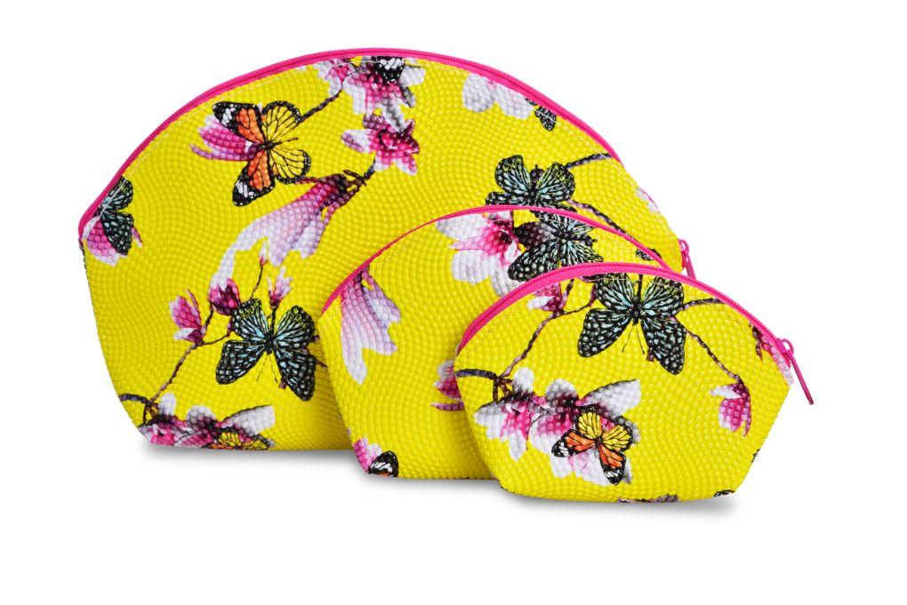 3 ks KOSMETICKÁ TAŠTIČKA  žlutá s motýly