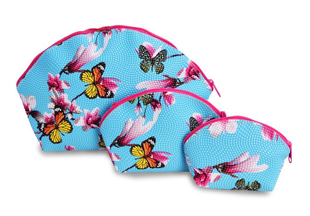 3 ks KOSMETICKÁ  TAŠTIČKA modrá s motýly