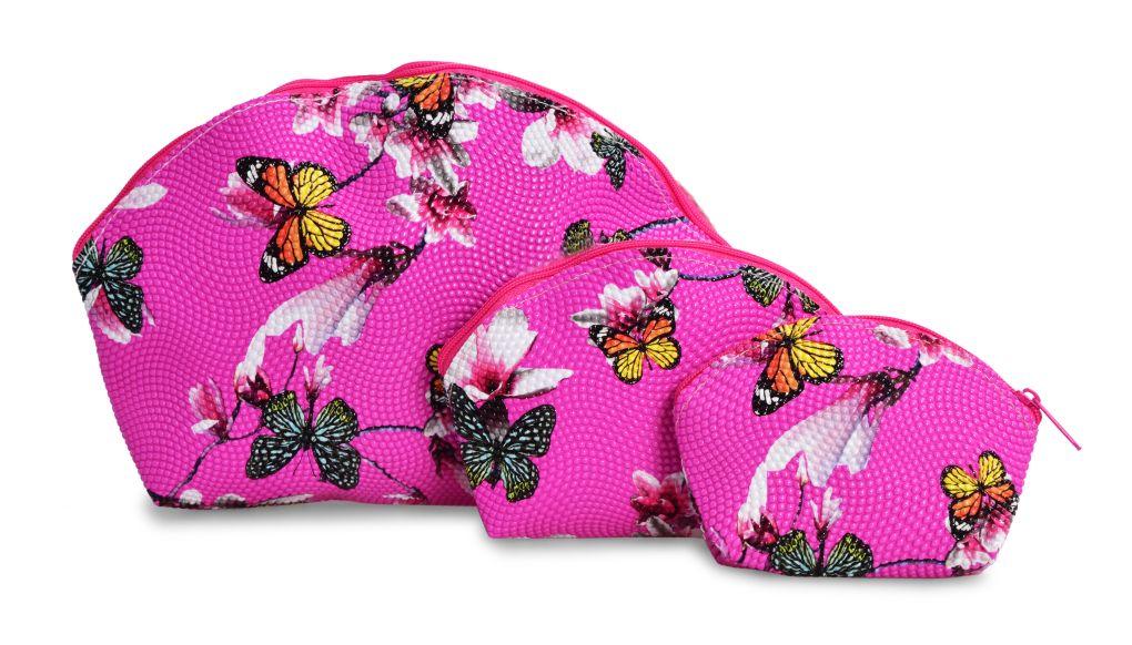3 ks KOSMETICKÁ  TAŠTIČKA růžová s motýly