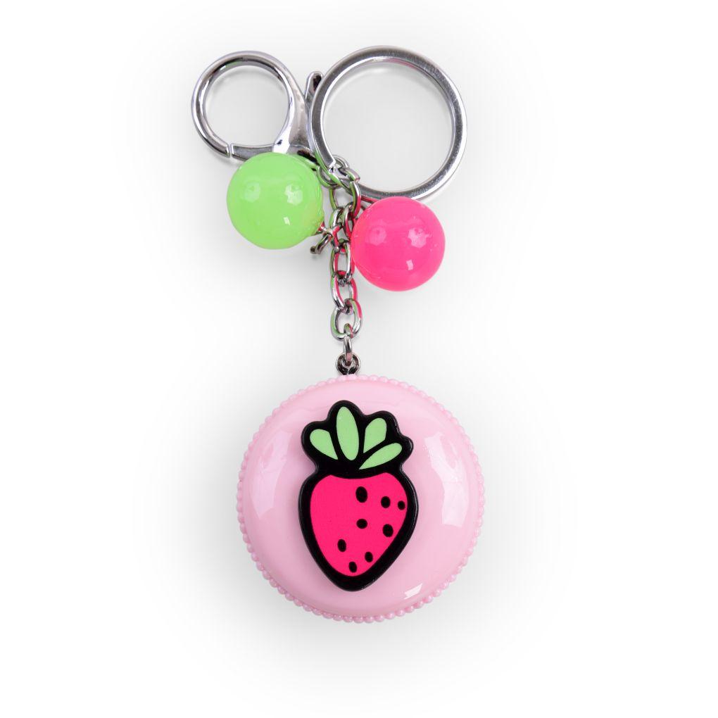 PŘÍVĚŠEK MAKRONKA na kabelku či klíče růžová s jahodou