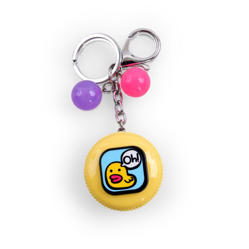 PŘÍVĚŠEK MAKRONKA na kabelku či klíče žlutá s kačenkou