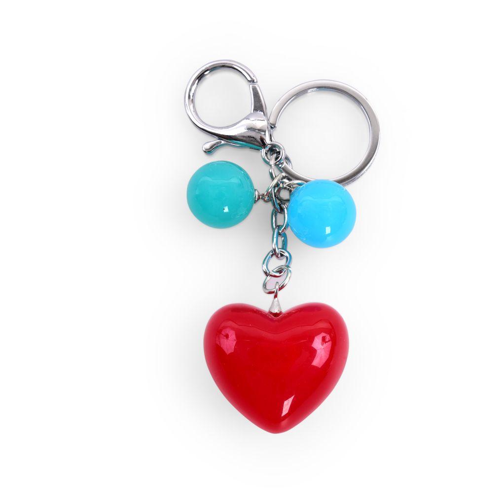 PŘÍVĚŠEK SRDÍČKO na kabelku či klíče červené