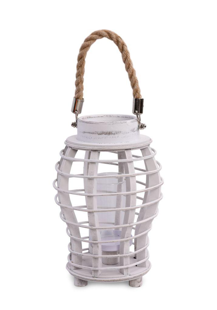 Originální lucerna dřevěná, bílá patina s lanovým držadlem