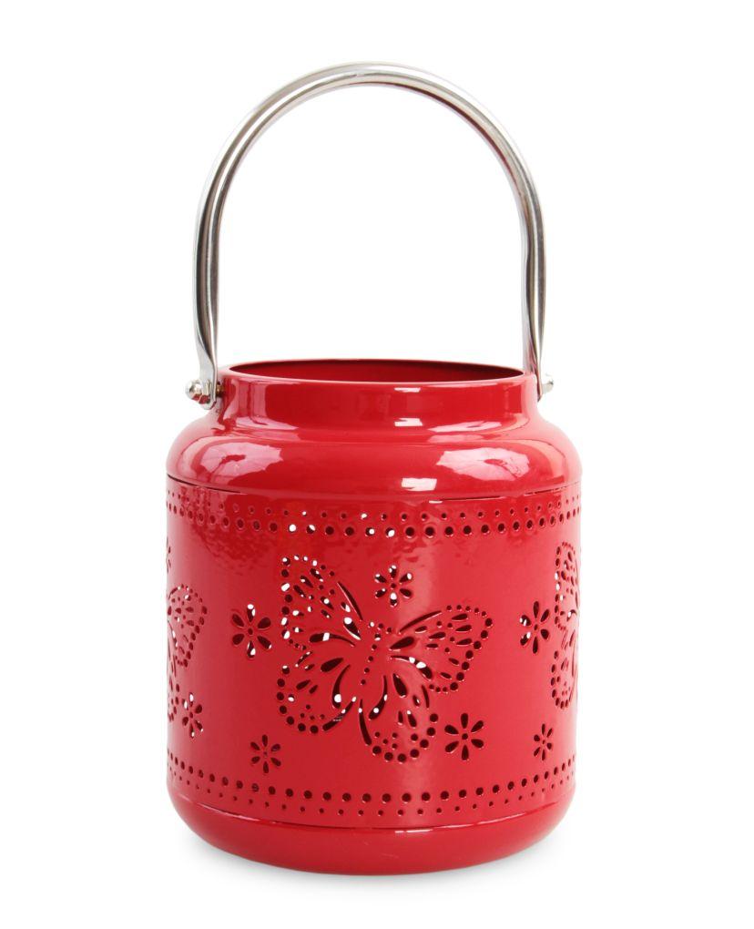 Kovový svícen lucerna, červená s motýlím dekorem