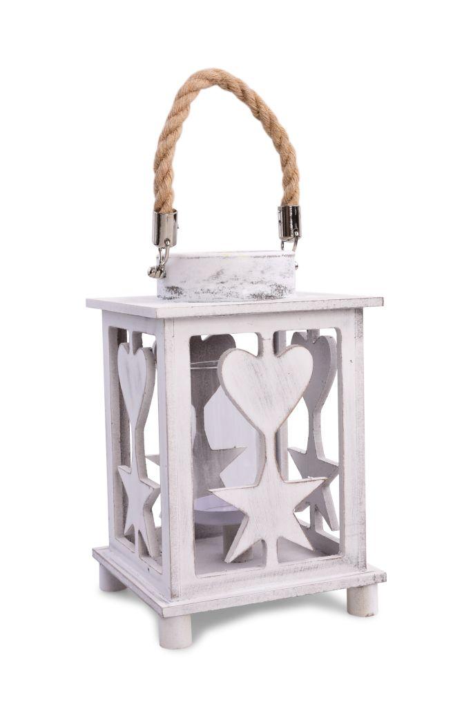 Dřevěná LUCERNA s lanovým držadlem a vyřezávaným dekorem