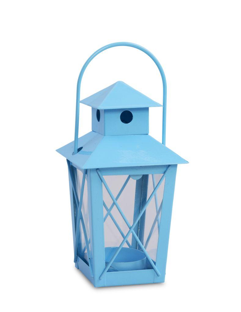 Kovová LUCERNIČKA na čajovou svíčku blankytně modrá