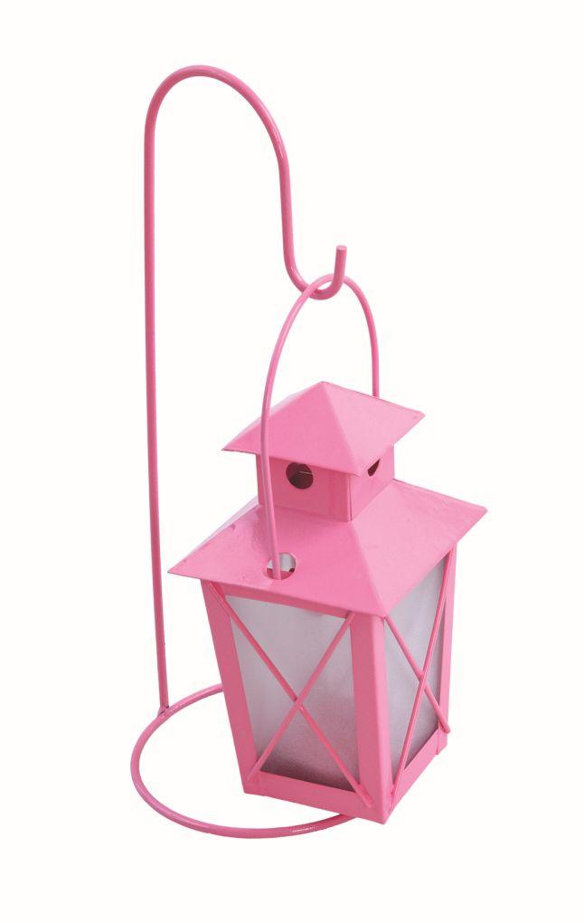 Závesná lucernička kovová pastelovo ružová