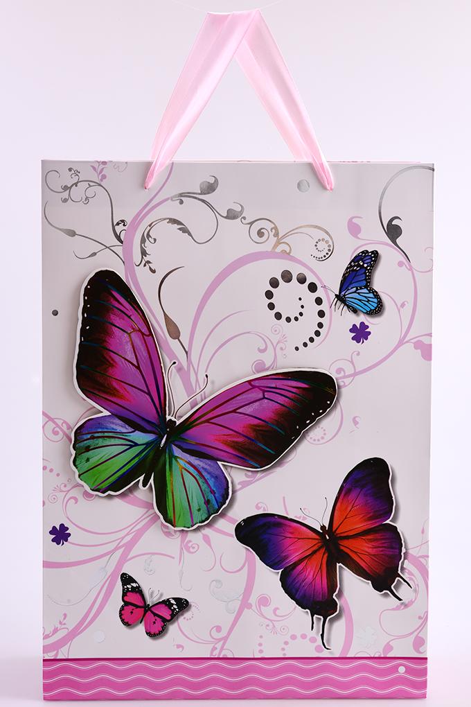 3D dárková taška, motýli, vel. XL