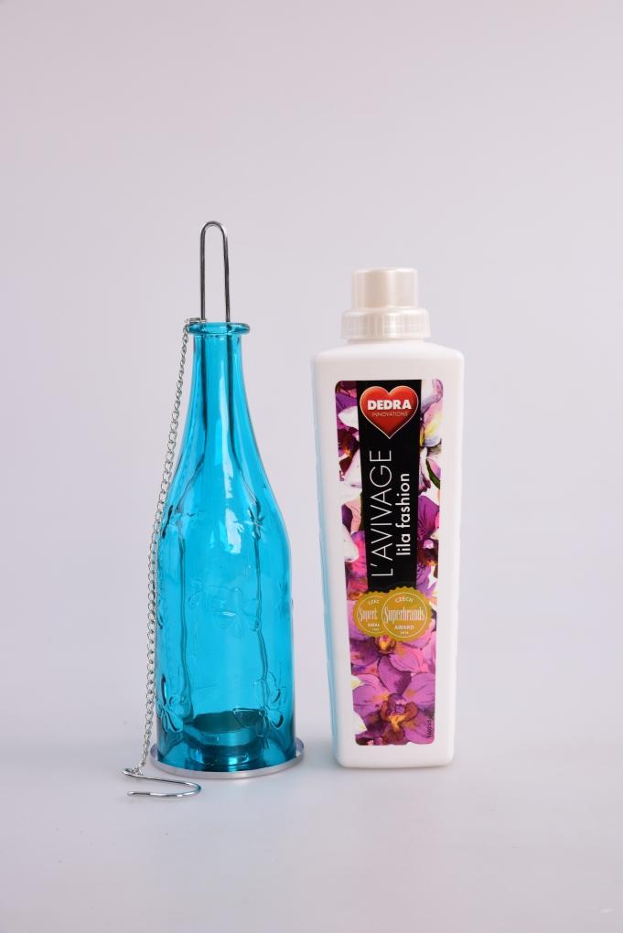 Farebná fľaša - svietnik