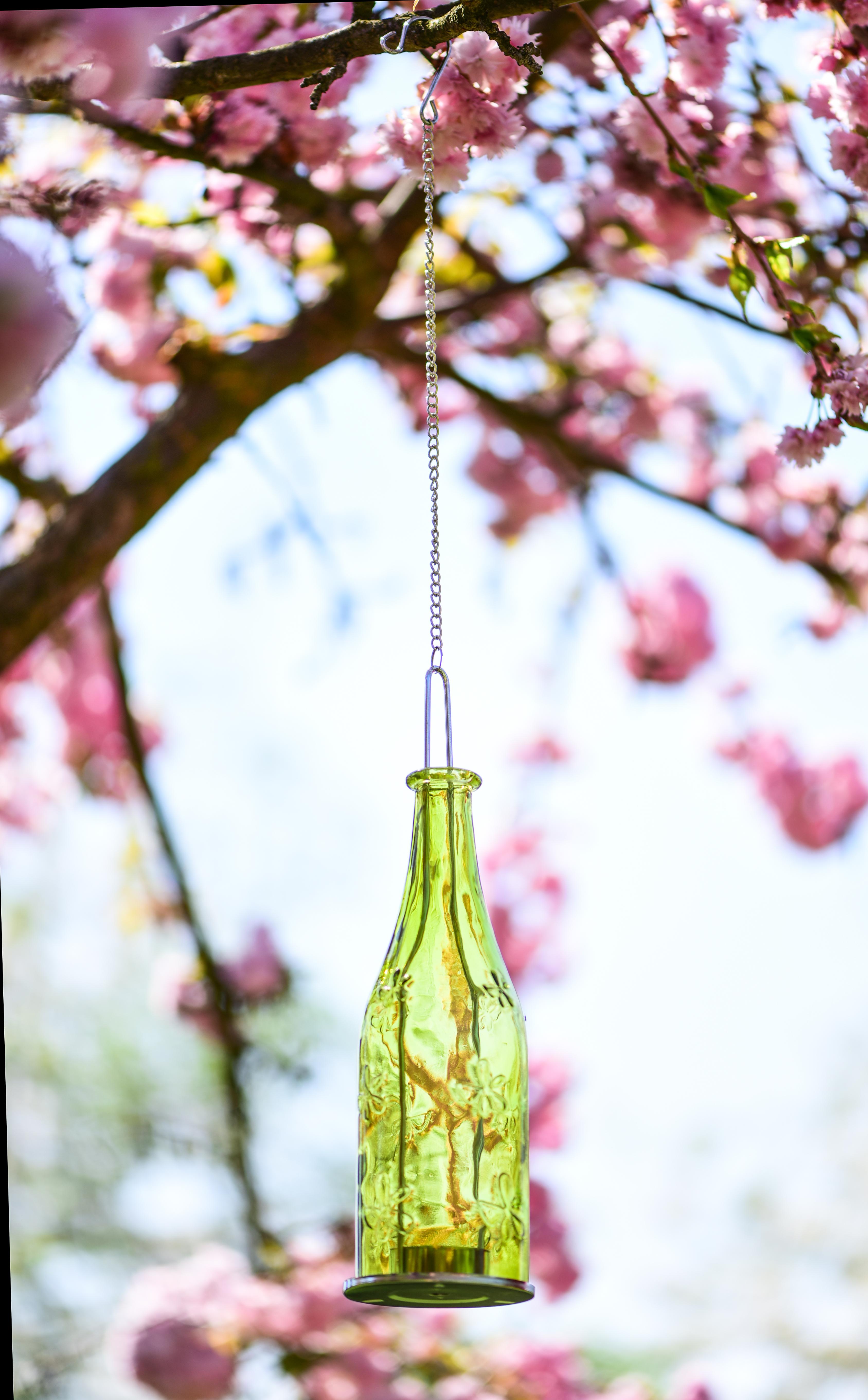 Barevná lahev závěsný svícen  zelený