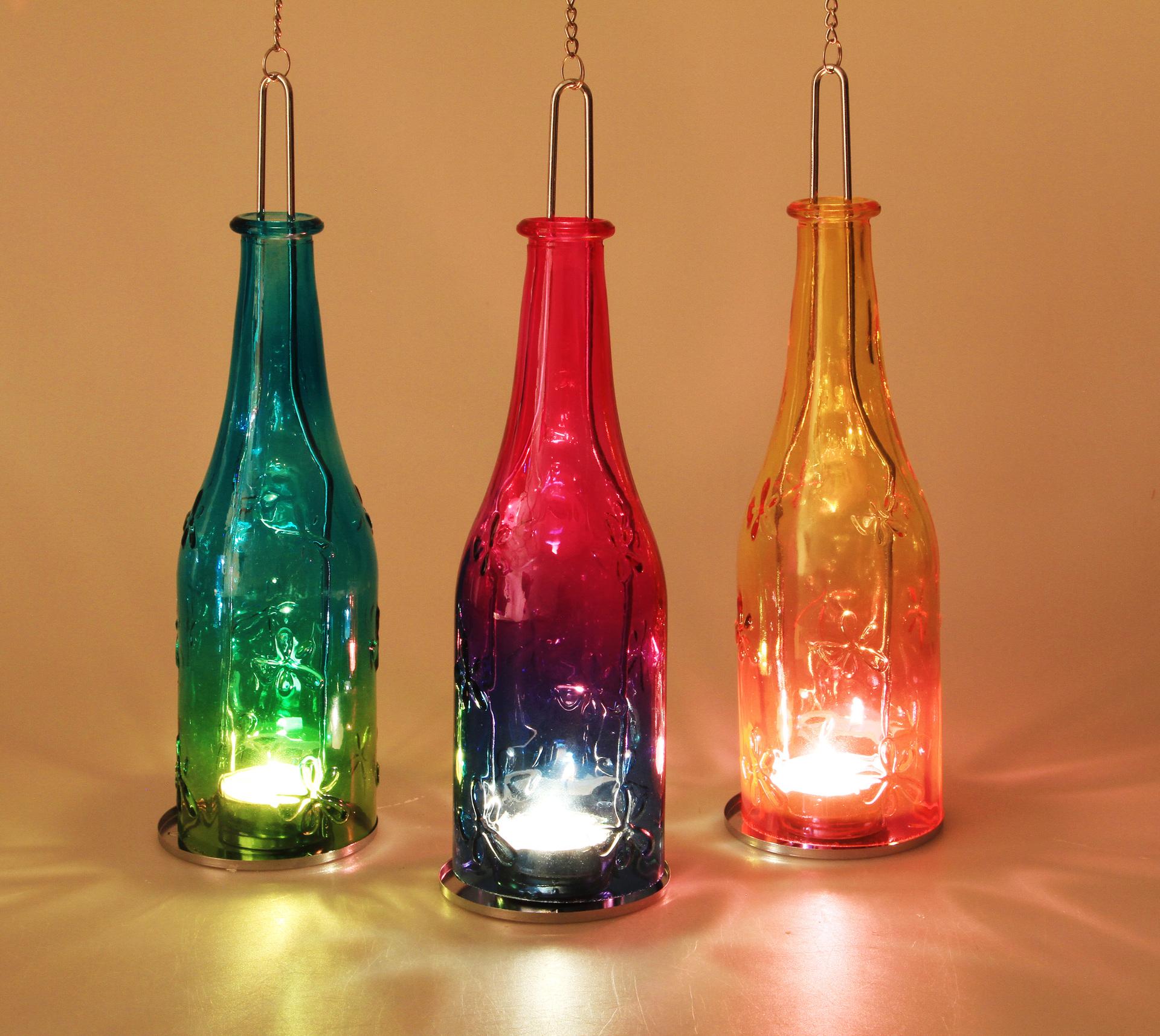 Barevná lahev 27 cm, závěsný svícen
