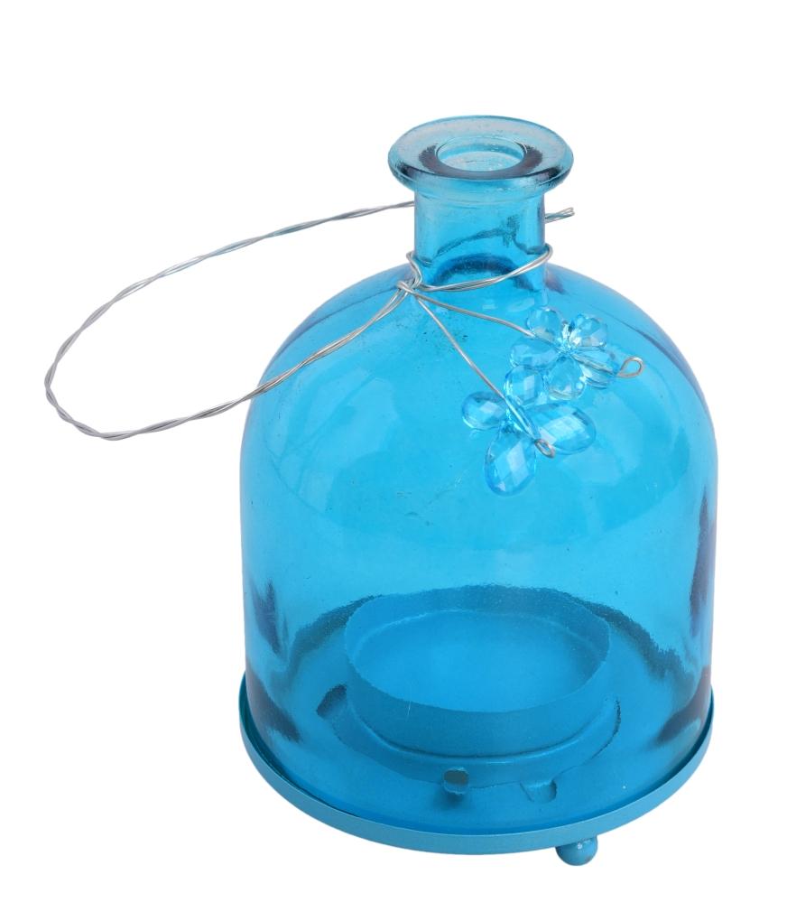 Svícen ve tvaru baňaté lahve tyrkysový