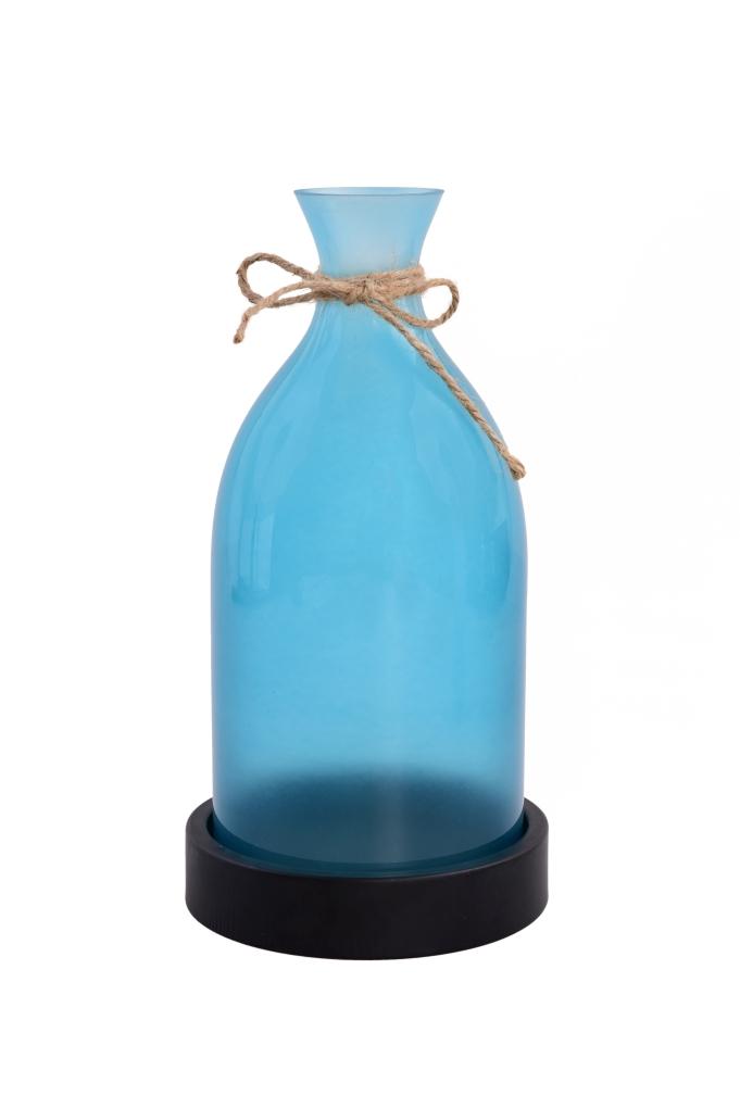 27 cm velký svícen ve tvaru vázy tyrkysový