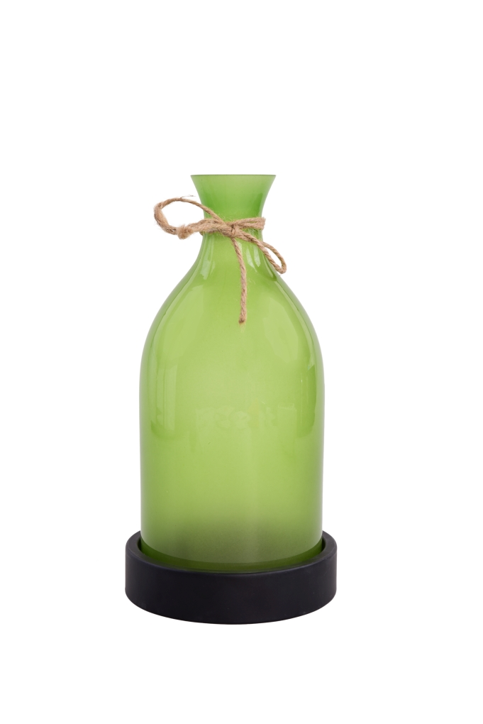27 cm velký svícen ve tvaru vázy zelený
