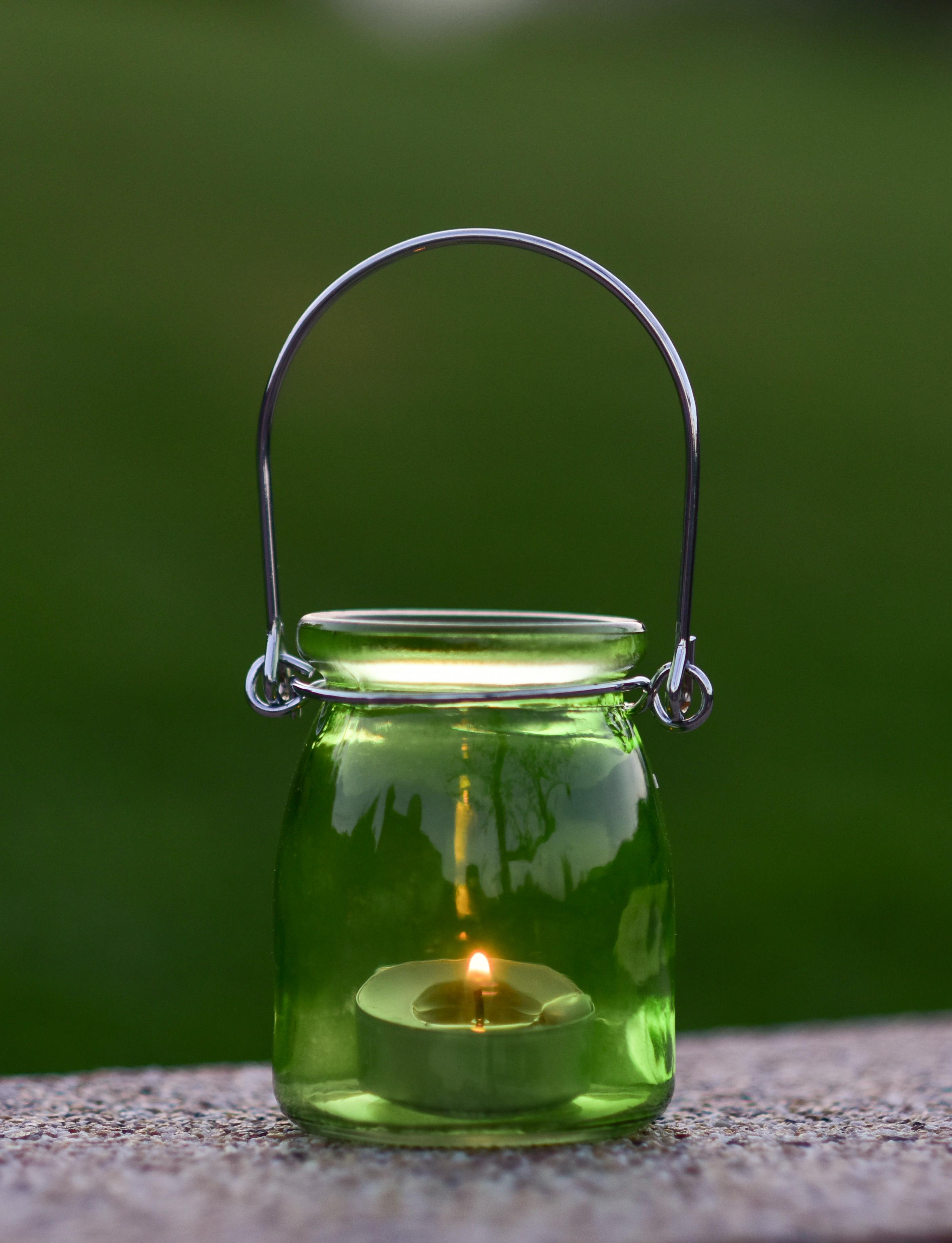 Skleněný svícen na čajovou svíčku zelený