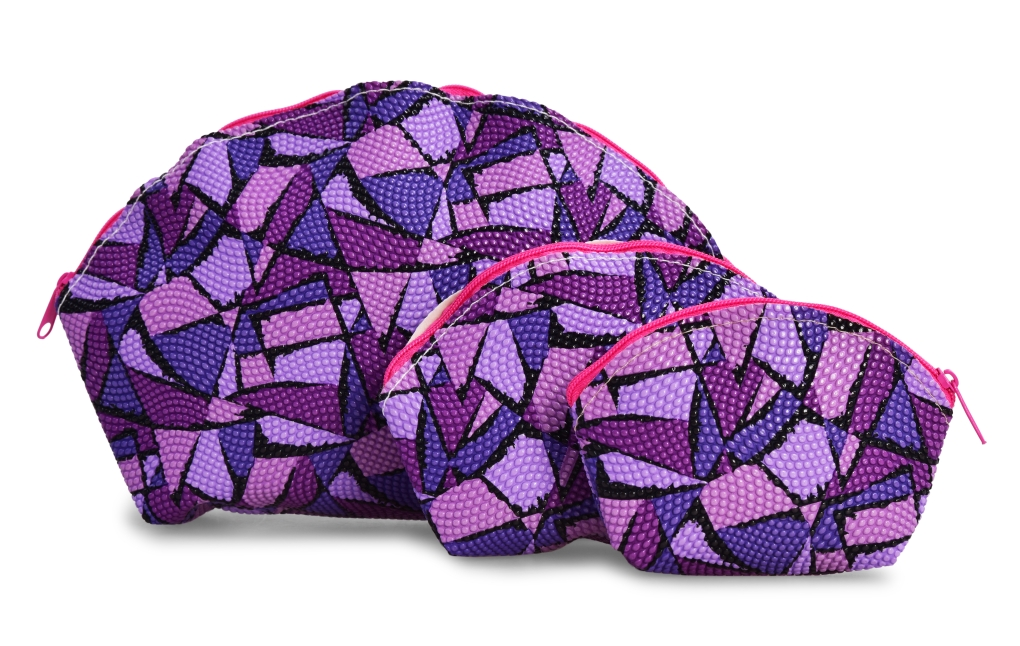 3 ks KOSMETICKÁ  TAŠTIČKA fialová geometric