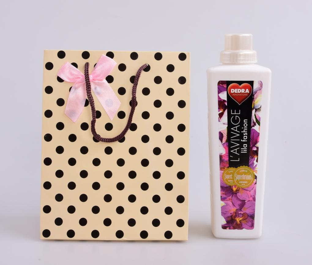 DA99782-Darčeková taška krémová s bodkami