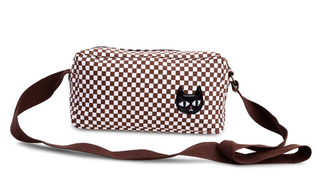 CAT kabelka s černou kočkou hnědé kostičky