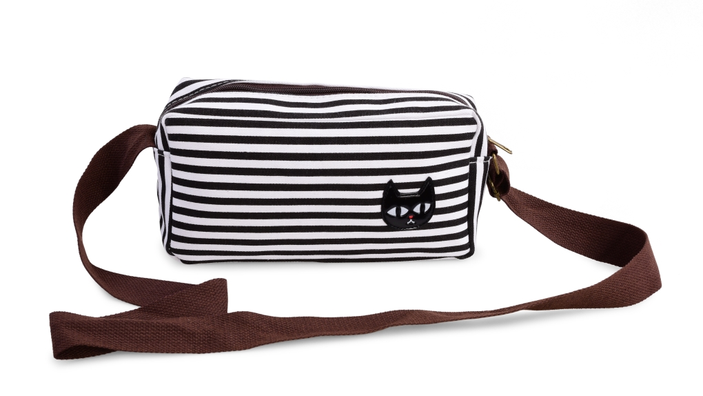 CAT kabelka s černou kočkou černé pruhy