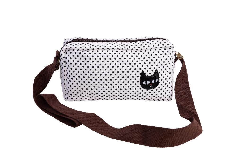 CAT kabelka s černou kočkou černé puntíky