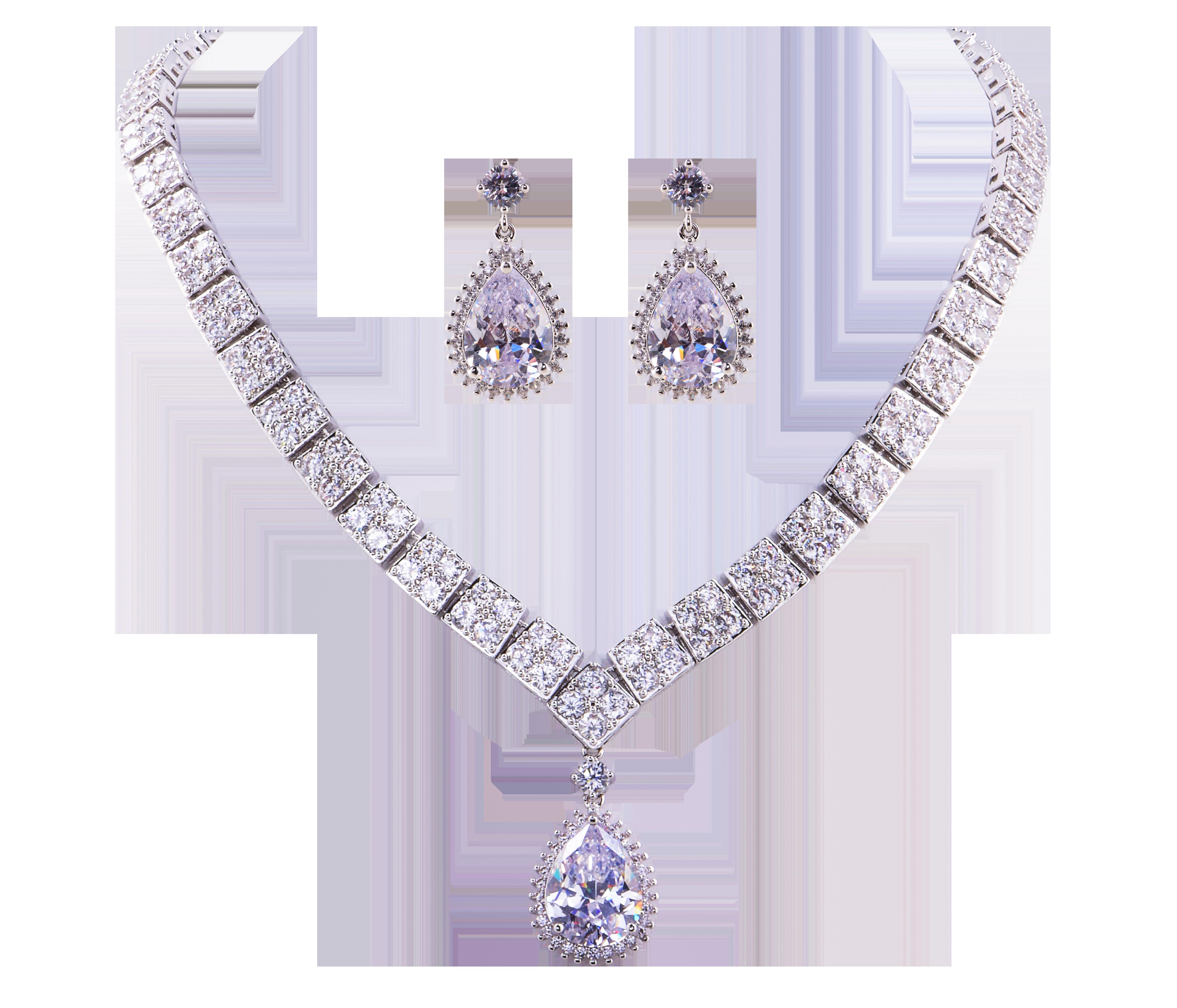 LUXUSNÍ SET náhrdelník a náušnice rhodiováno