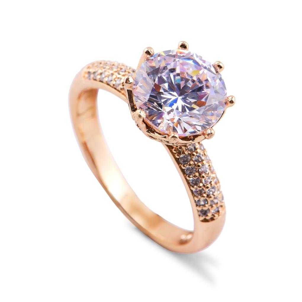 Prsten se  zirkony rhodiováno rosé 2(vel.7)