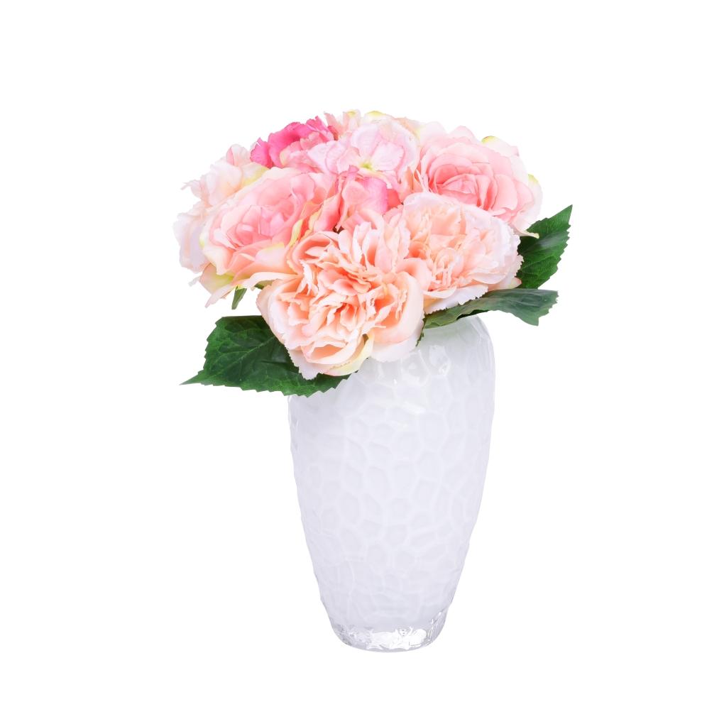 Pugét RŮŽÍ růžový výška cca 40 cm ateliérová květina