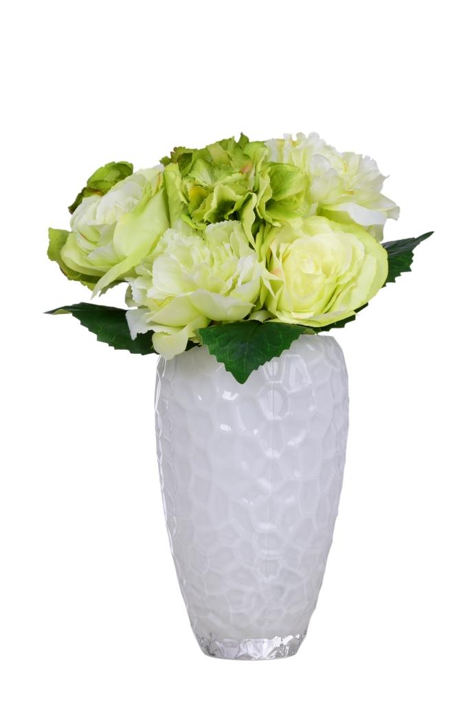 Pugét RŮŽÍ bílo-zelené, výška cca 40 cm